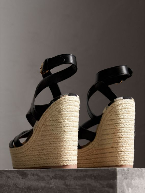 Leather Platform Espadrille Wedge Sandals in Black - Women | Burberry United States - cell image 3