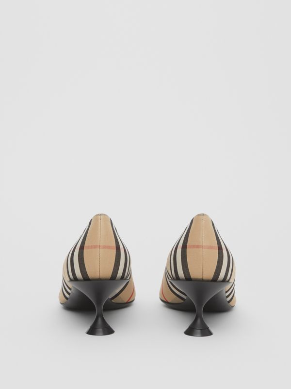 Vintage Check Cotton Pumps in Archive Beige - Women | Burberry United Kingdom - cell image 3
