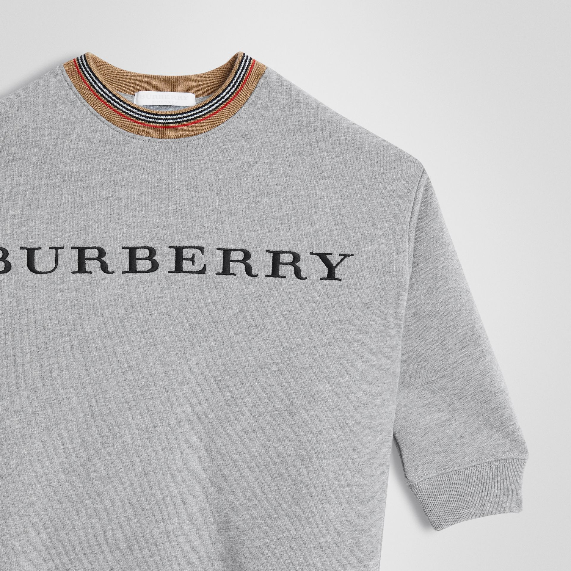 Embroidered Logo Cotton Dress in Grey Melange | Burberry - gallery image 4