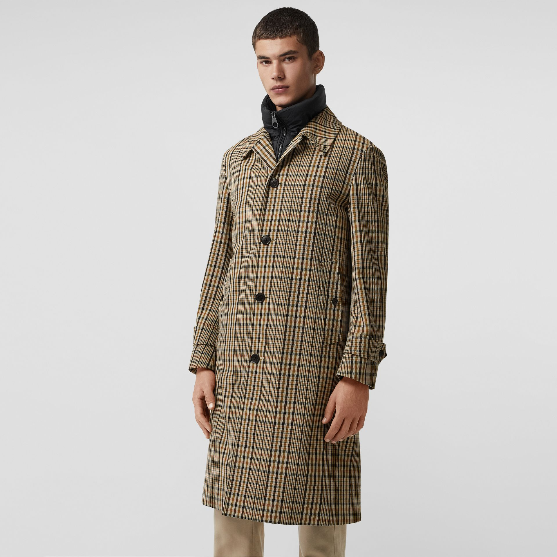 Check Car Coat with Detachable Gilet in Dark Camel - Men | Burberry United States - gallery image 6