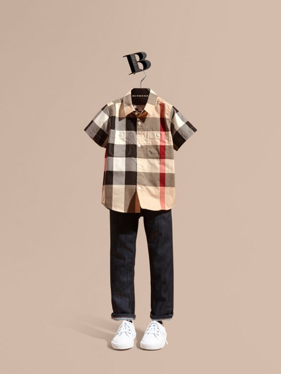 Short-sleeve Check Cotton Shirt in New Classic - Boy | Burberry