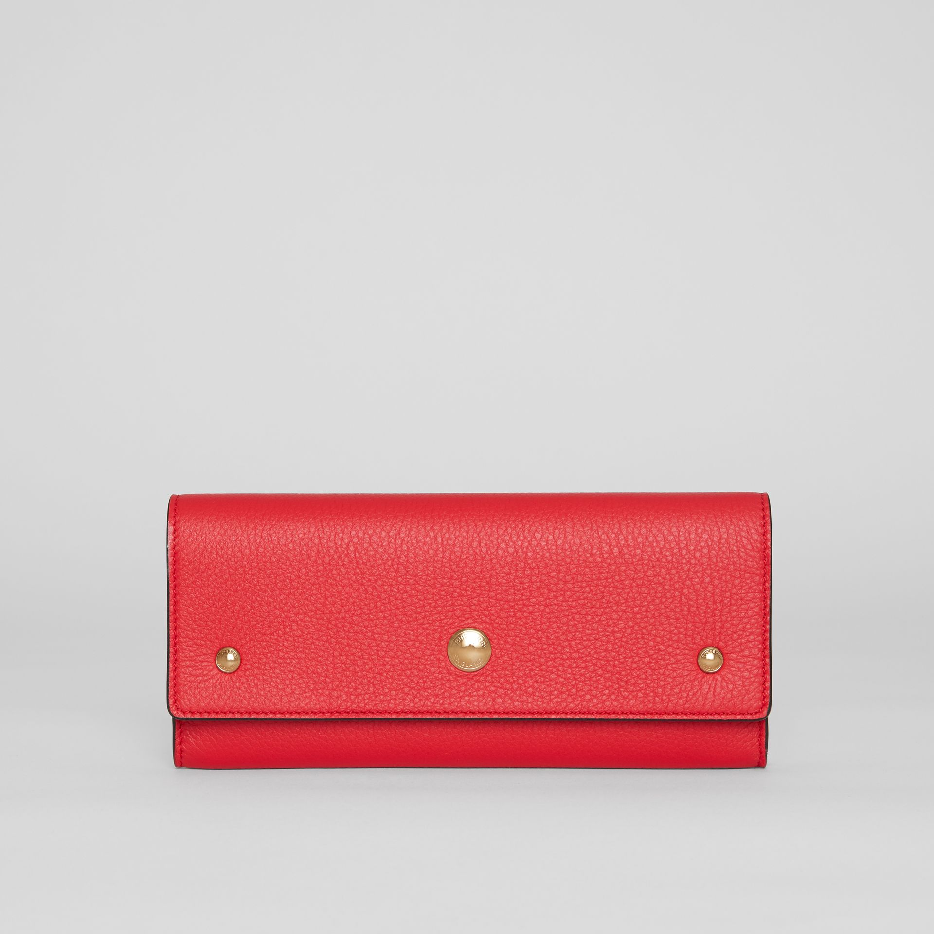 Grainy Leather Continental Wallet in Bright Military Red - Women | Burberry - gallery image 0