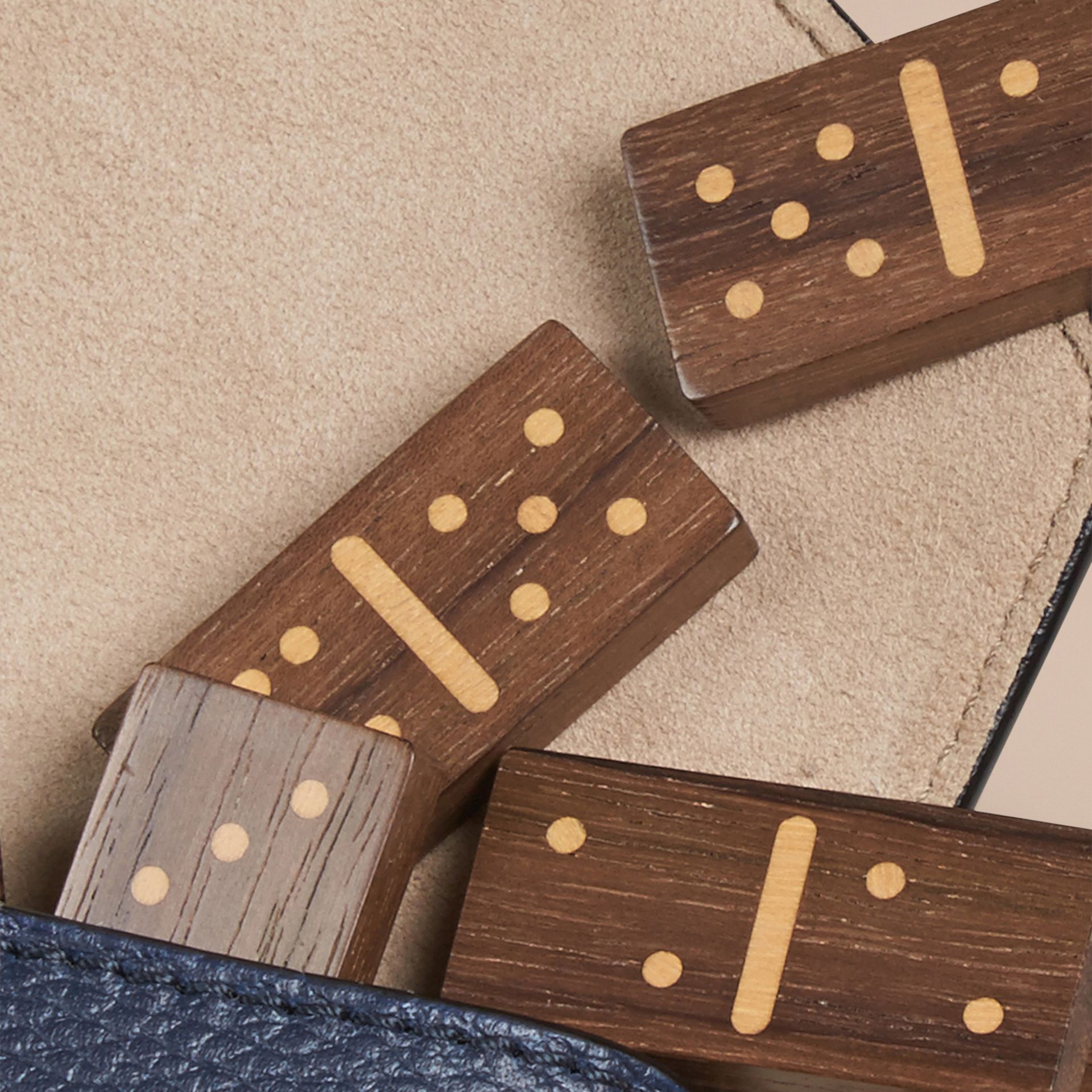 Wooden Domino Set with Grainy Leather Case in Bright Navy - gallery image 2