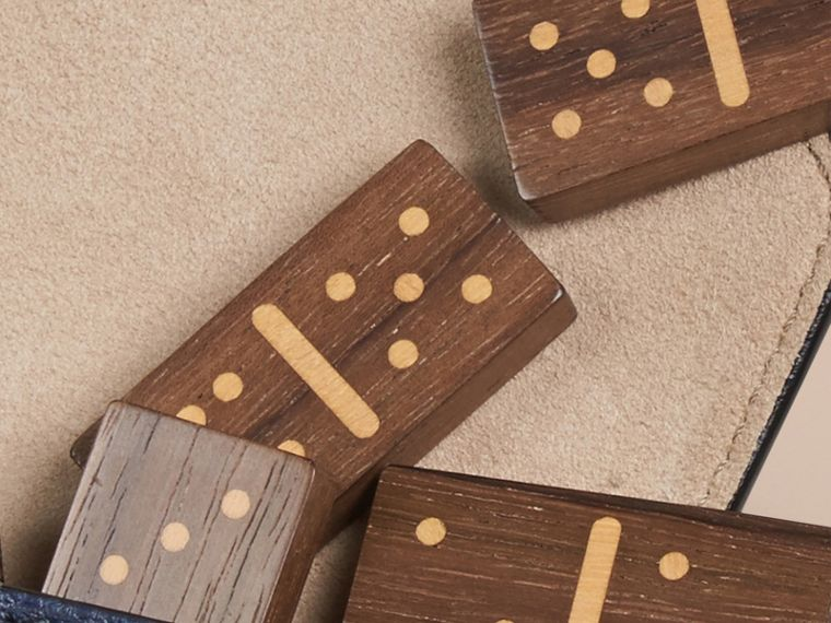 Wooden Domino Set with Grainy Leather Case in Bright Navy - cell image 1
