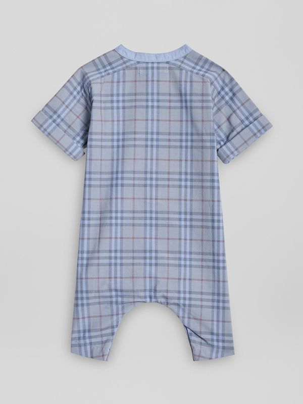 Bib Detail Check Cotton Jumpsuit in Dusty Blue - Children | Burberry - cell image 3