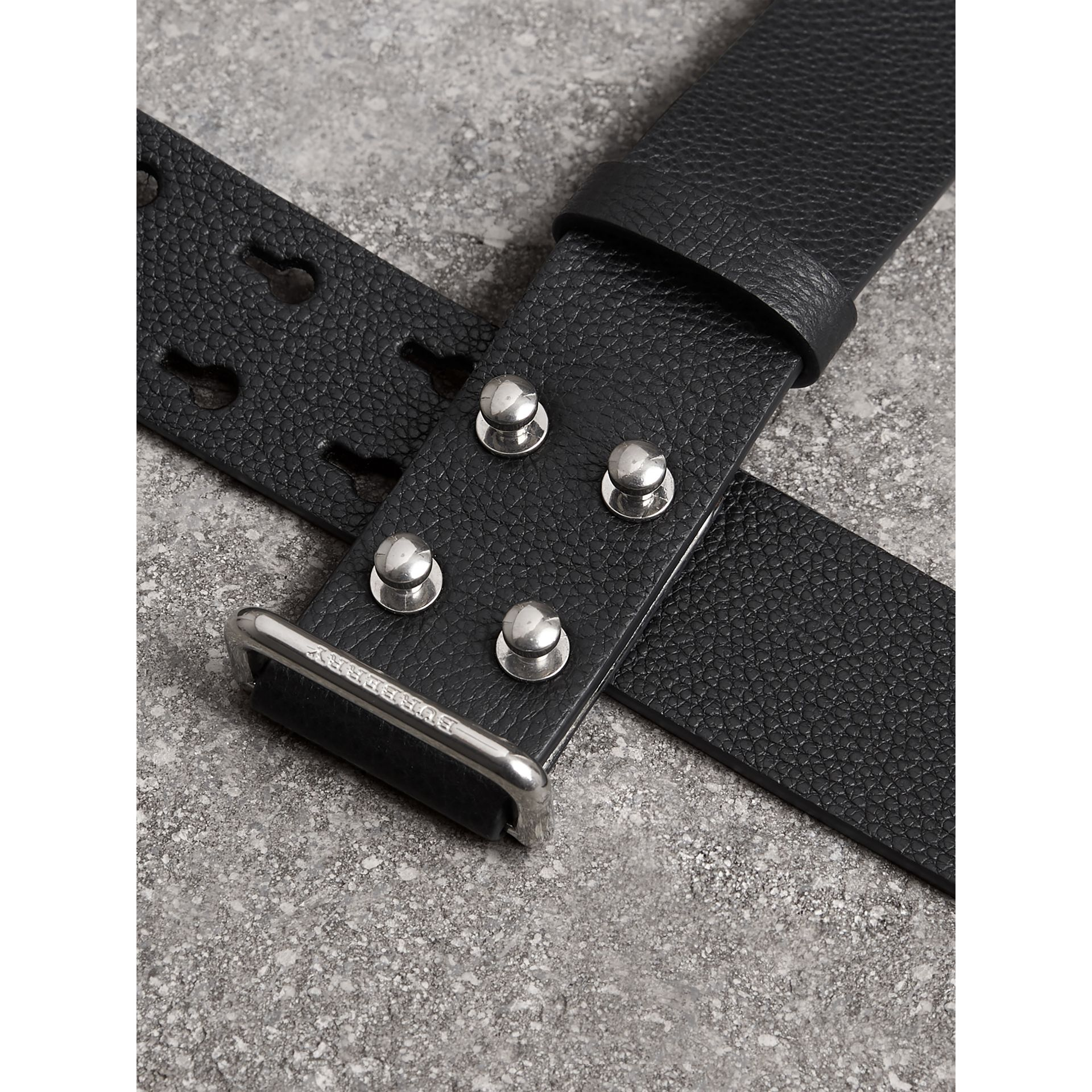 Push-Stud Grainy Leather Belt in Black - Men | Burberry Canada - gallery image 1