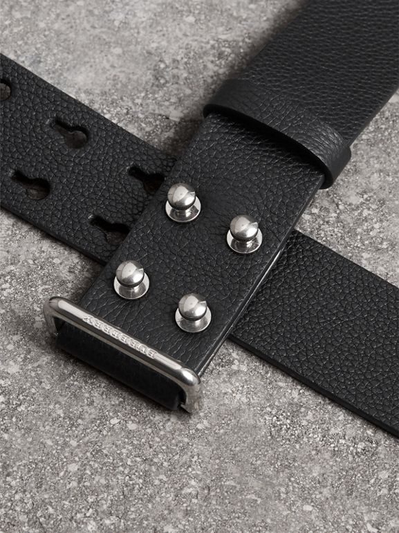 Push-Stud Grainy Leather Belt in Black - Men | Burberry Canada - cell image 1