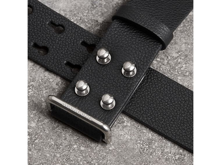 Push-Stud Grainy Leather Belt in Black - Men | Burberry - cell image 1