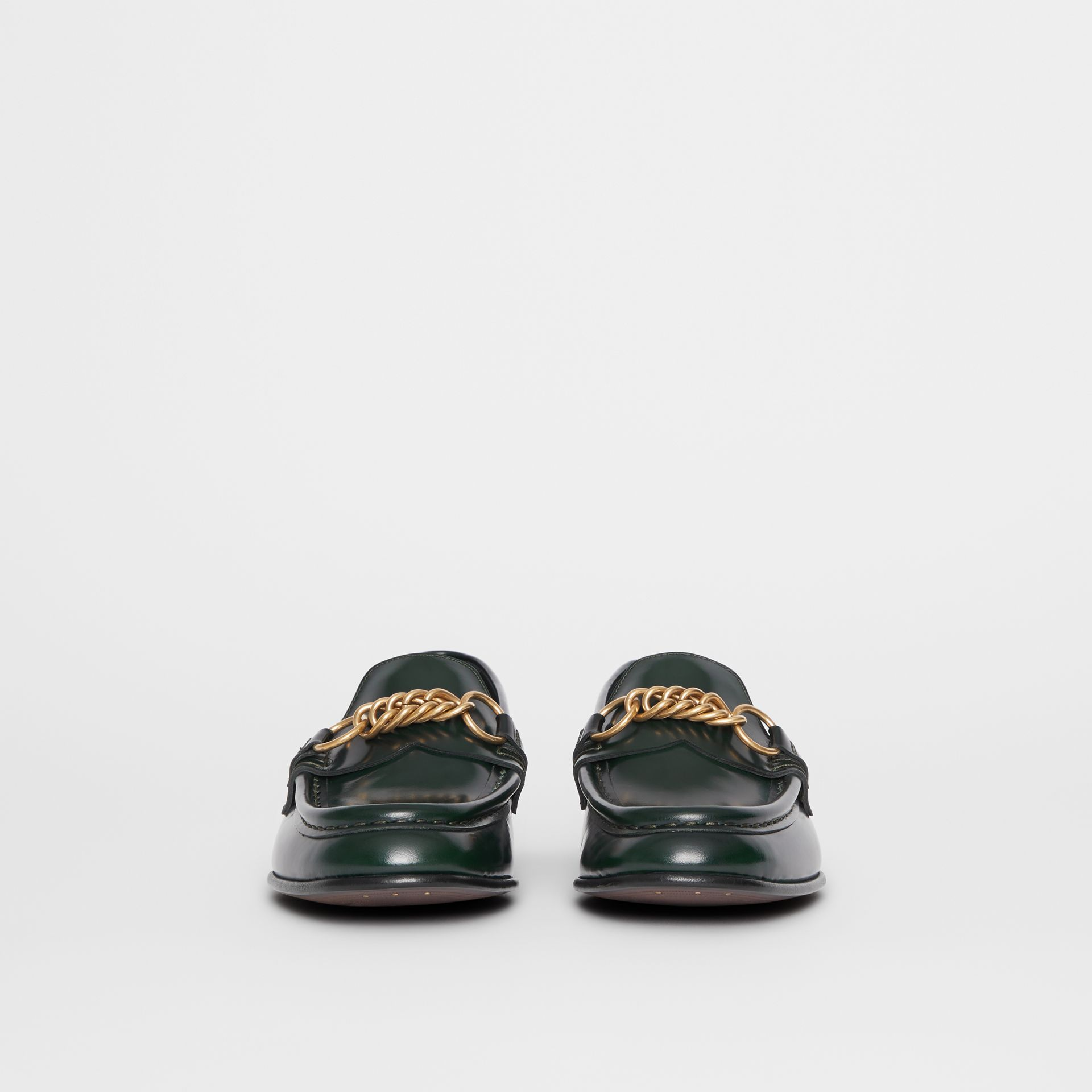 The Leather Link Loafer in Deep Green - Women | Burberry United States - gallery image 2