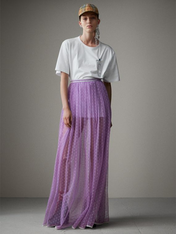 Floor-length Flocked Cotton Tulle Skirt in Lilac/white