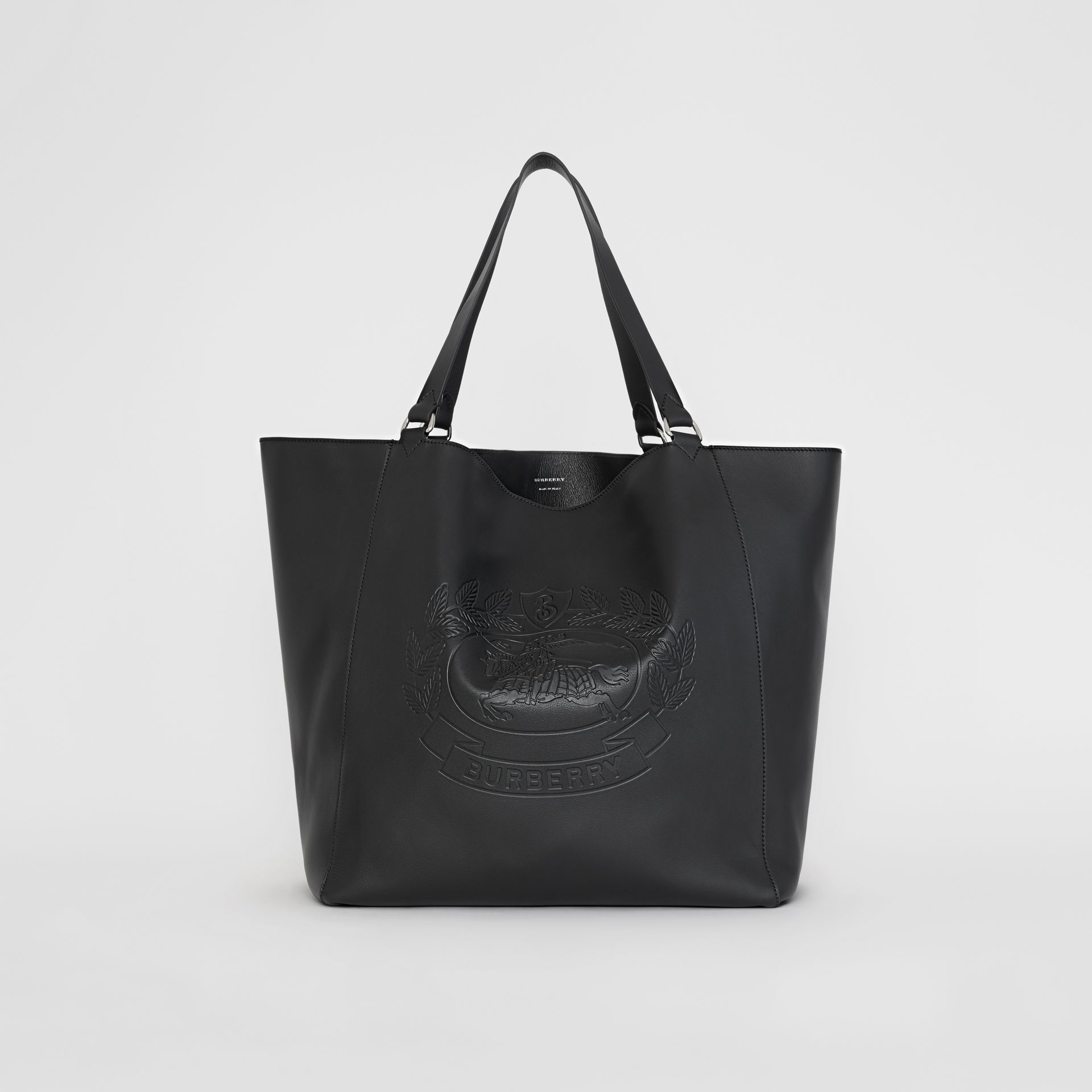 Large Embossed Crest Bonded Leather Tote in Black - Men | Burberry United States - gallery image 0