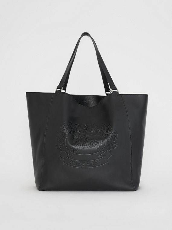 Large Embossed Crest Bonded Leather Tote in Black