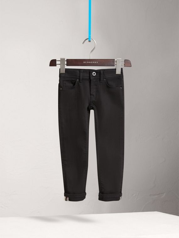 Skinny Fit Stretch Denim Jeans in Black - Girl | Burberry United Kingdom - cell image 2