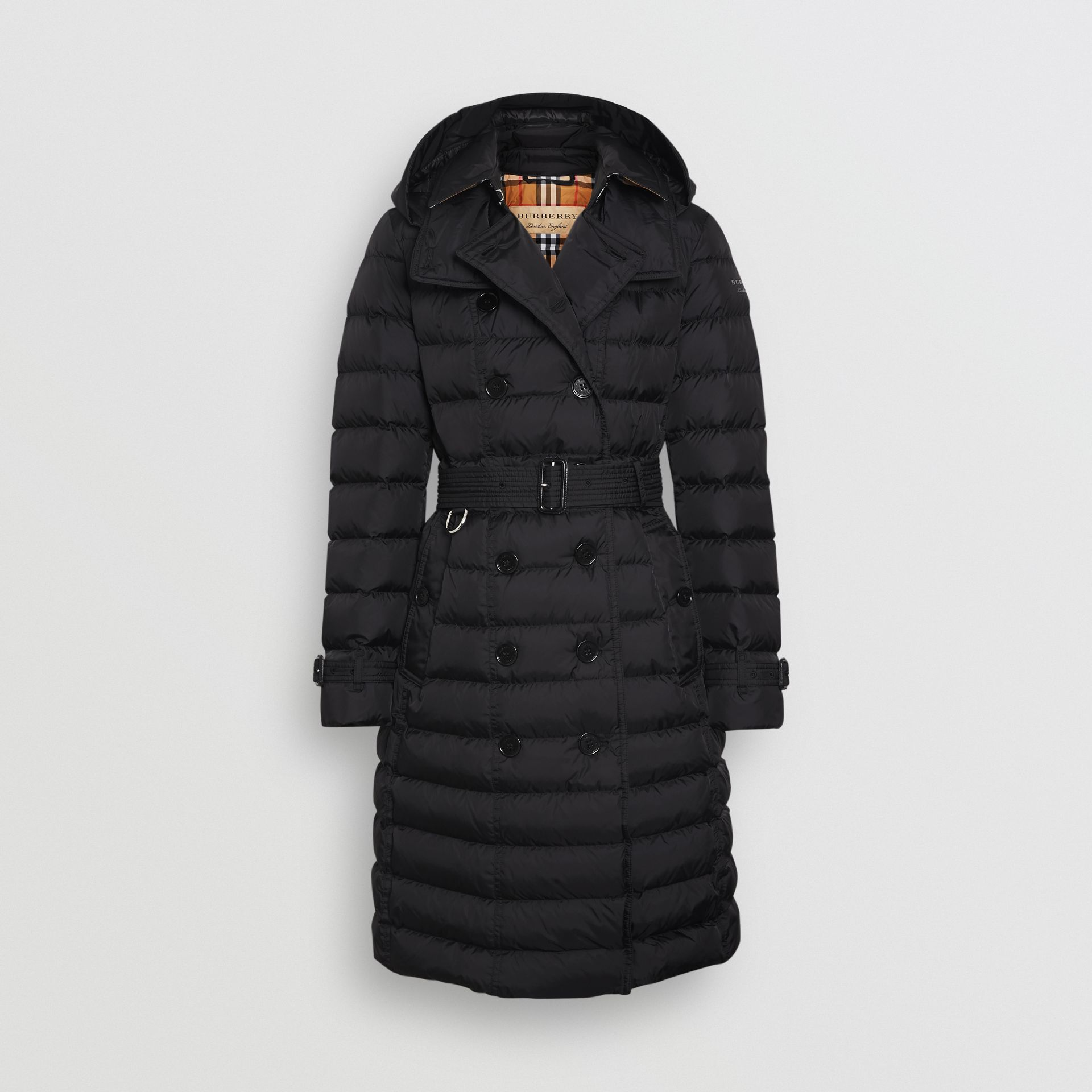 Detachable Hood Down-filled Puffer Coat in Black - Women | Burberry - gallery image 3