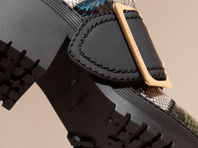 Mineral blue/black The Buckle Boot in Snakeskin and Rubberised Leather - cell image 4