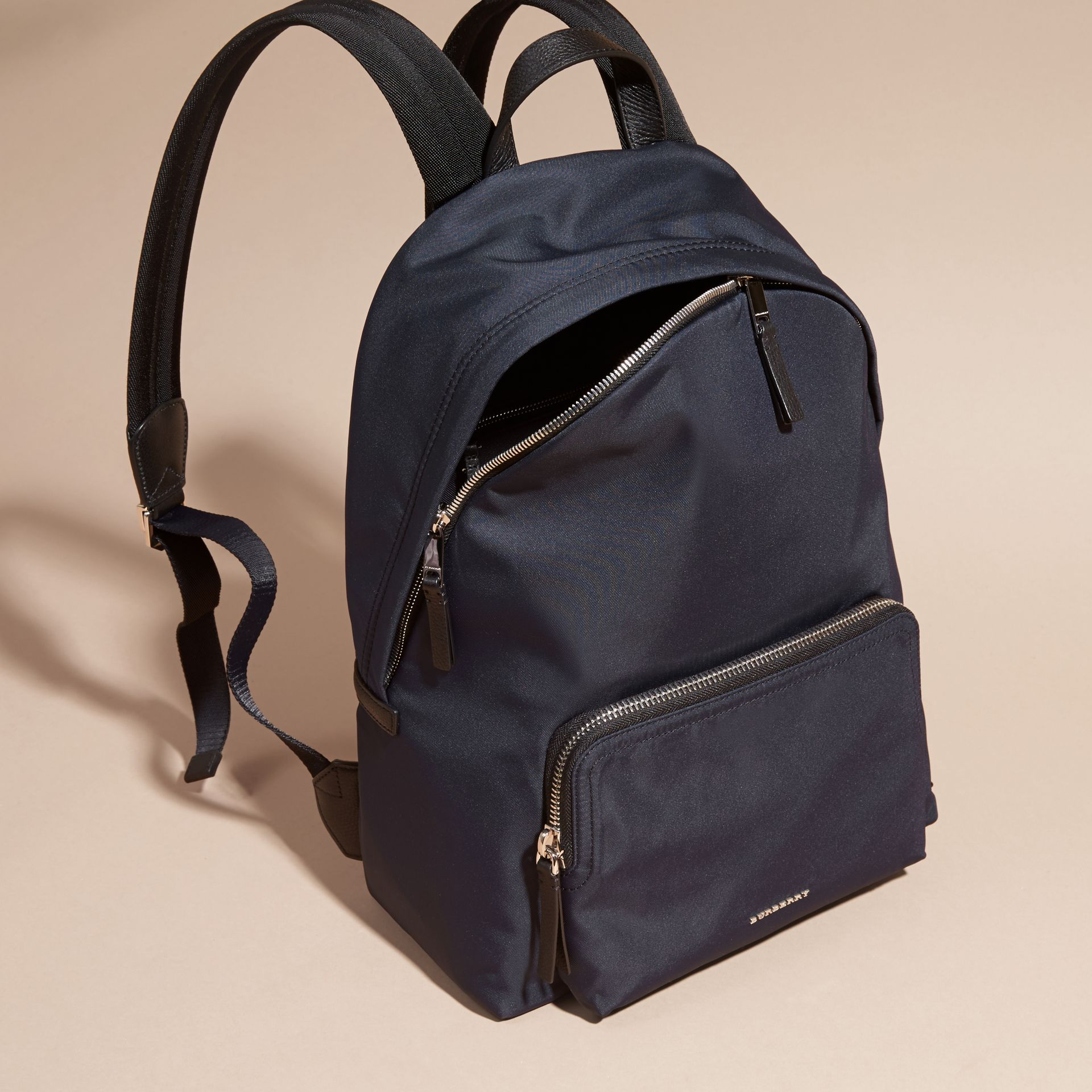 Dark navy Leather Trim Nylon Backpack - gallery image 7