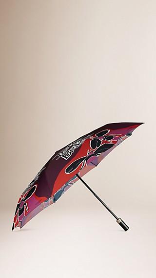 Guarda-chuva dobrável com estampa tipográfica