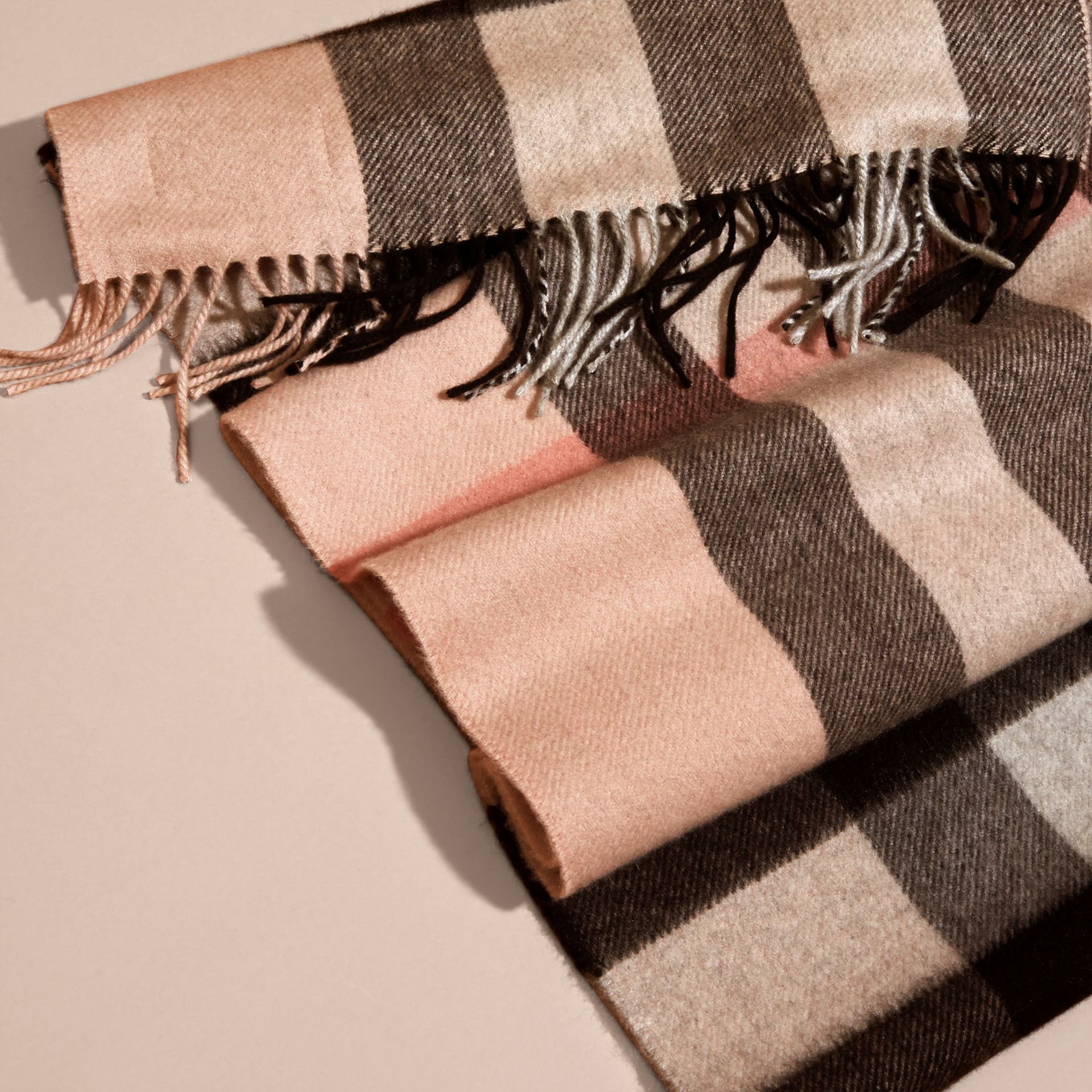 Ash rose The Large Classic Cashmere Scarf in Check Rose - gallery image 5
