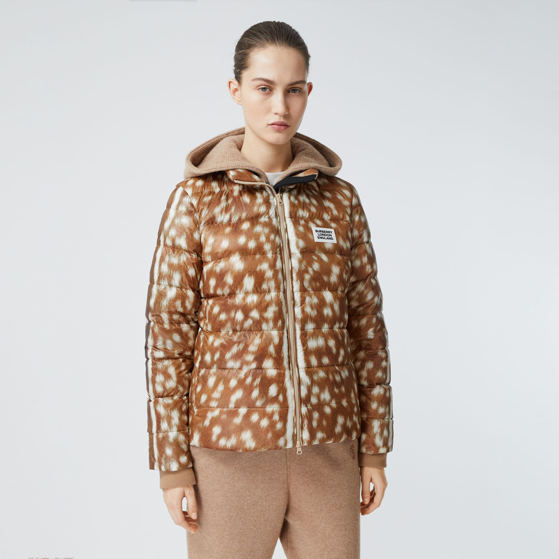 Deer Print Puffer Jacket in Honey - Women | Burberry United Kingdom - gallery image 4
