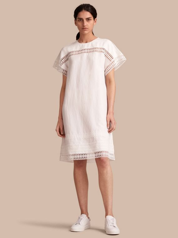 Short-sleeved Macramé Lace Detail Silk Blend Dress