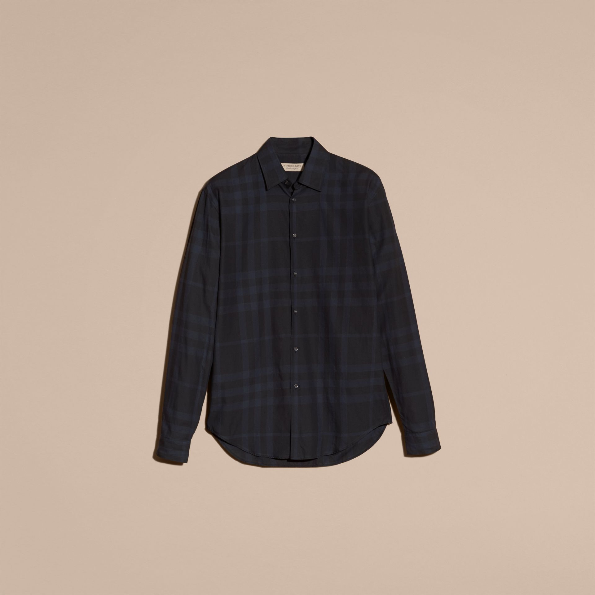 Bright navy Check Cotton Shirt - gallery image 4