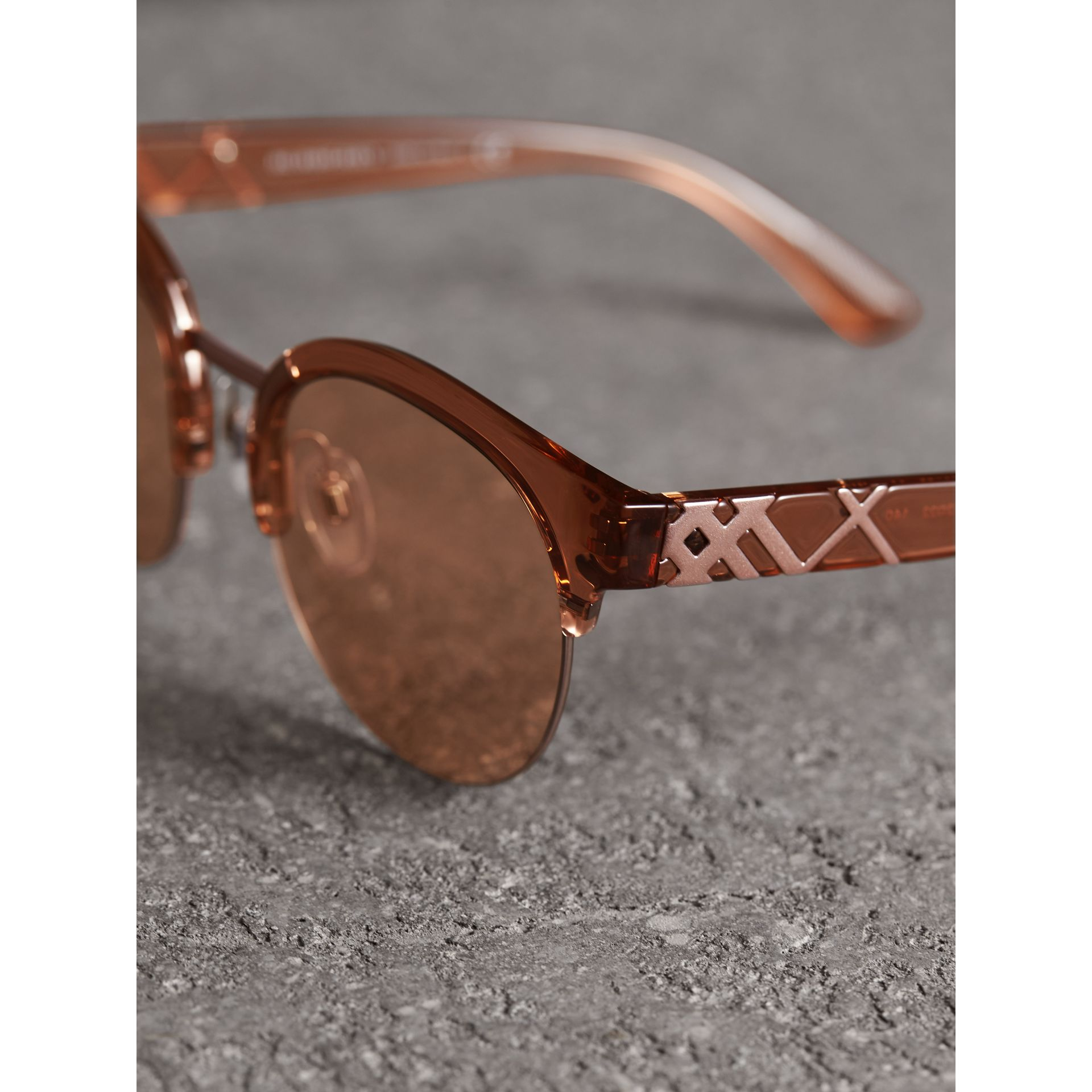 Check Detail Round Half-frame Sunglasses in Sand - Women | Burberry United States - gallery image 1