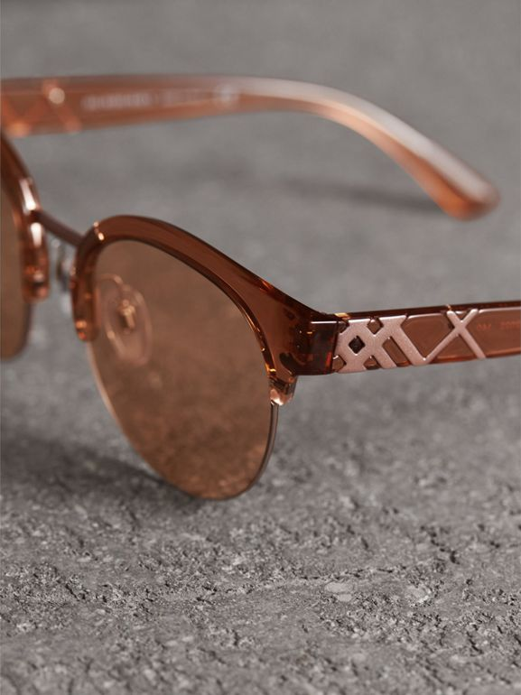 Check Detail Round Half-frame Sunglasses in Sand - Women | Burberry - cell image 1
