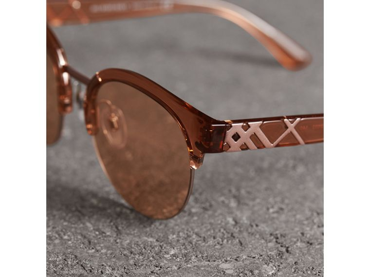 Check Detail Round Half-frame Sunglasses in Sand - Women | Burberry Australia - cell image 1