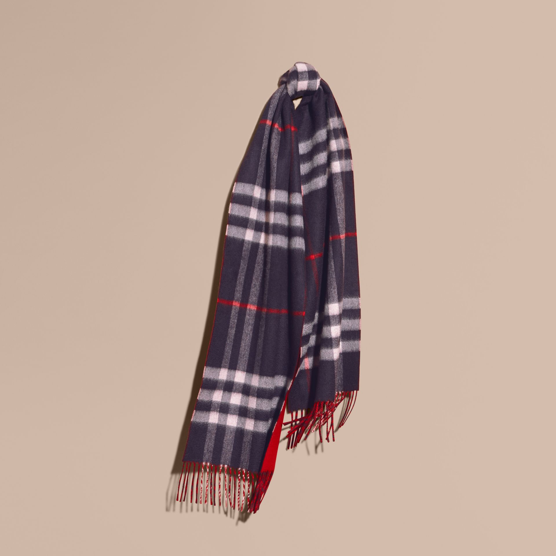 Navy Reversible Check Cashmere and Block-colour Scarf Navy - gallery image 6