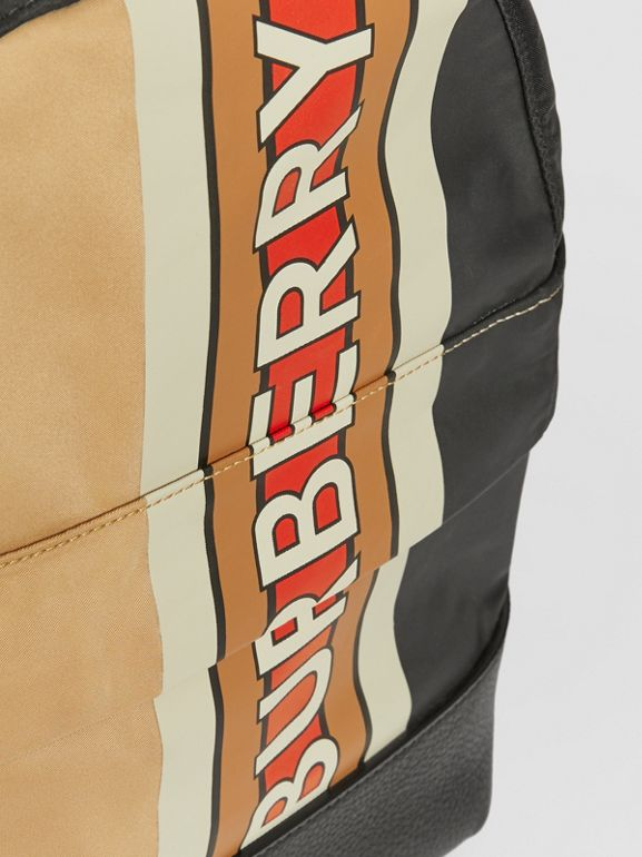 Logo Print Striped ECONYL® Backpack in Archive Beige - Children | Burberry United Kingdom - cell image 1