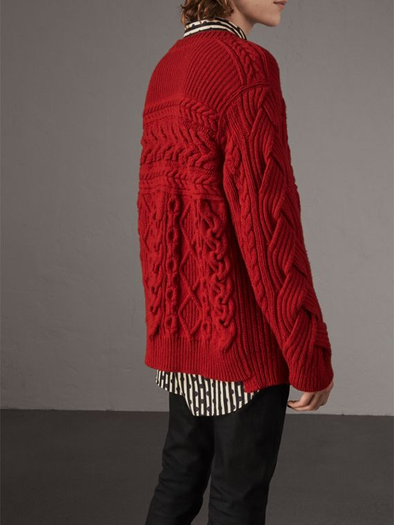 Aran Knit Cashmere Wool Sweater in Military Red - Men | Burberry - cell image 2