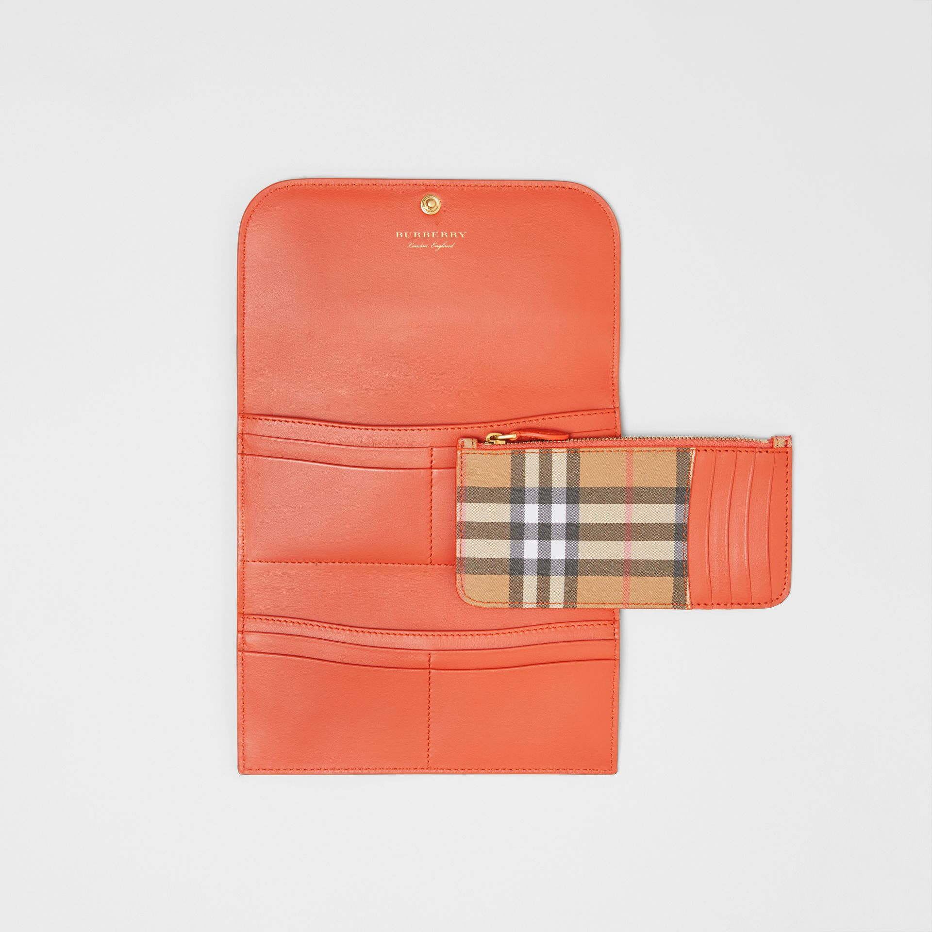 Vintage Check Continental Wallet with Zip Card Case in Clementine - Women | Burberry Canada - gallery image 2