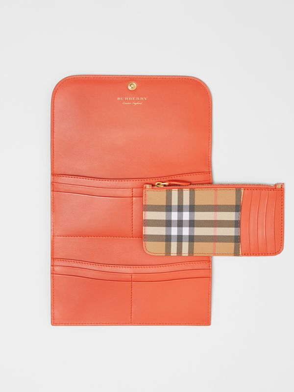 Vintage Check Continental Wallet with Zip Card Case in Clementine - Women | Burberry Canada - cell image 2