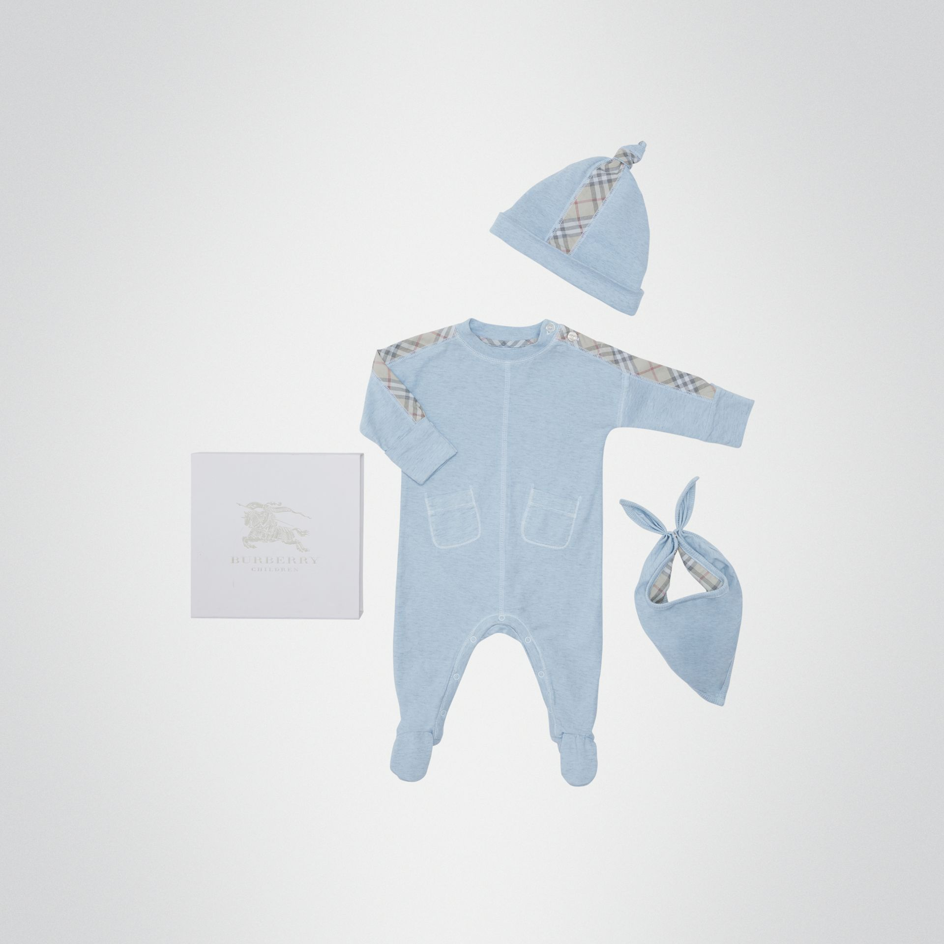 Check Cotton Three-piece Baby Gift Set in Pale Carbon Blue - Children | Burberry Canada - gallery image 0