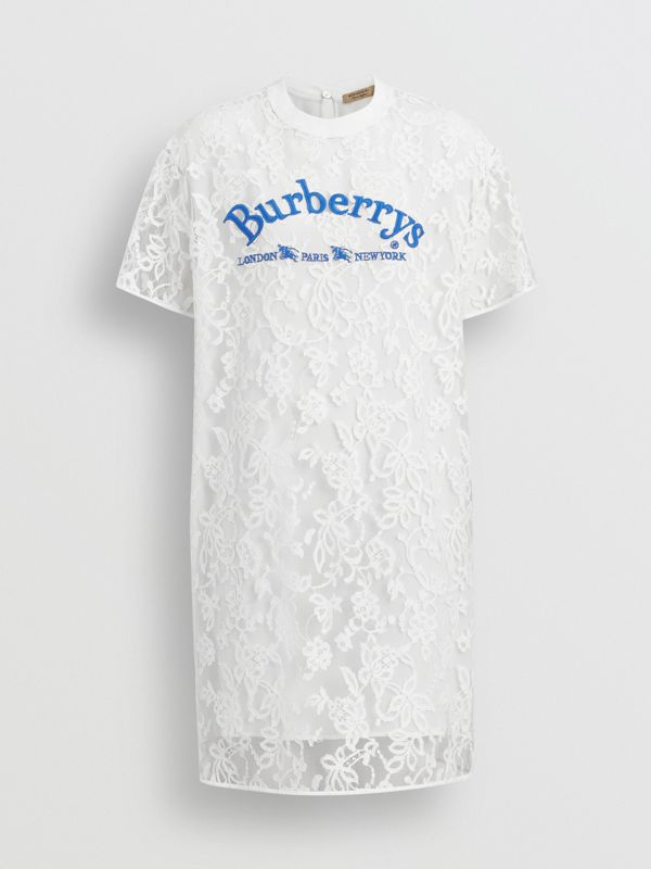Embroidered Archive Logo Lace Dress in Natural White - Women | Burberry - cell image 3