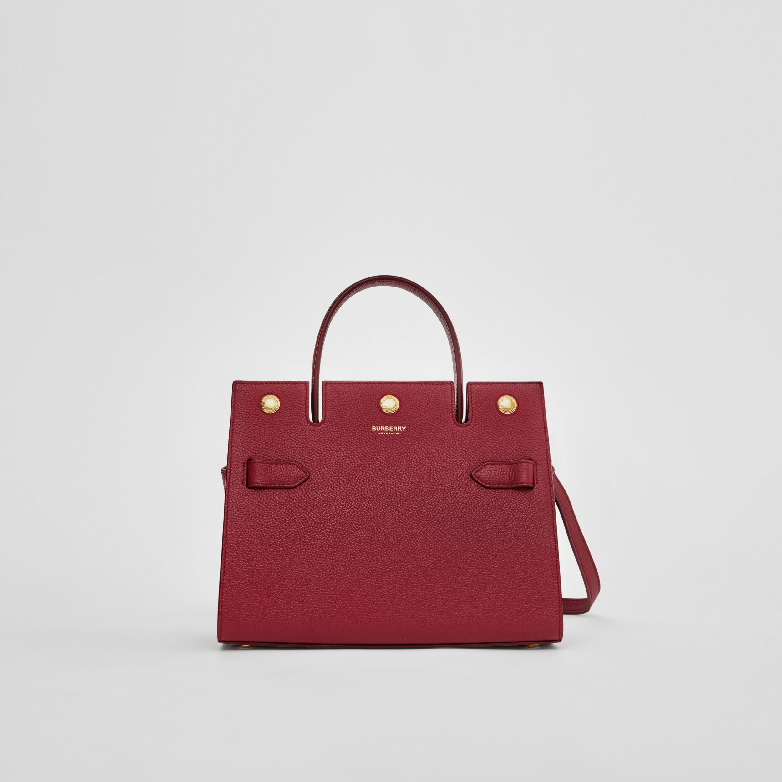 Mini Leather Title Bag in Dark Crimson - Women | Burberry - 1