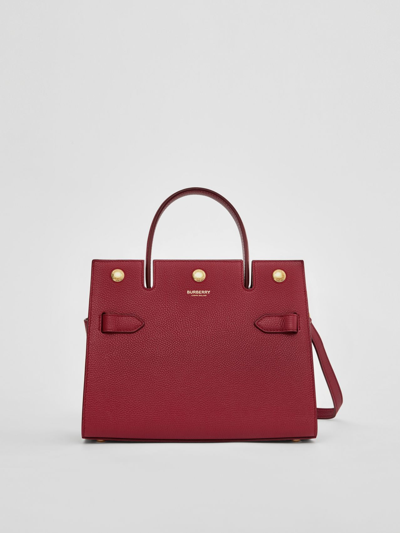 Mini Leather Title Bag in Dark Crimson