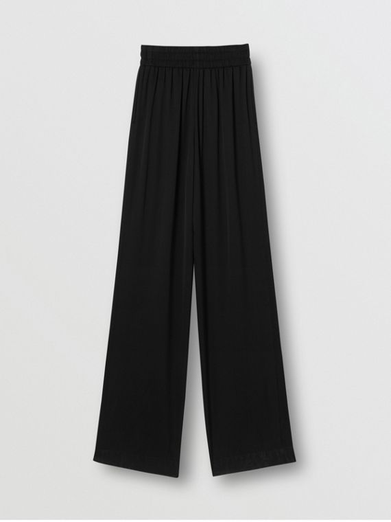 Silk Satin Trousers in Black