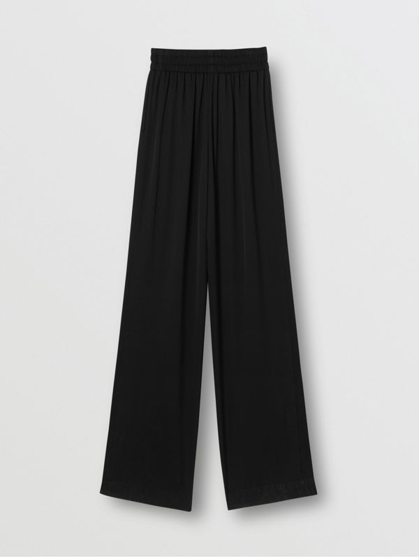 Silk Satin Trousers in Black - Women | Burberry United States - cell image 3