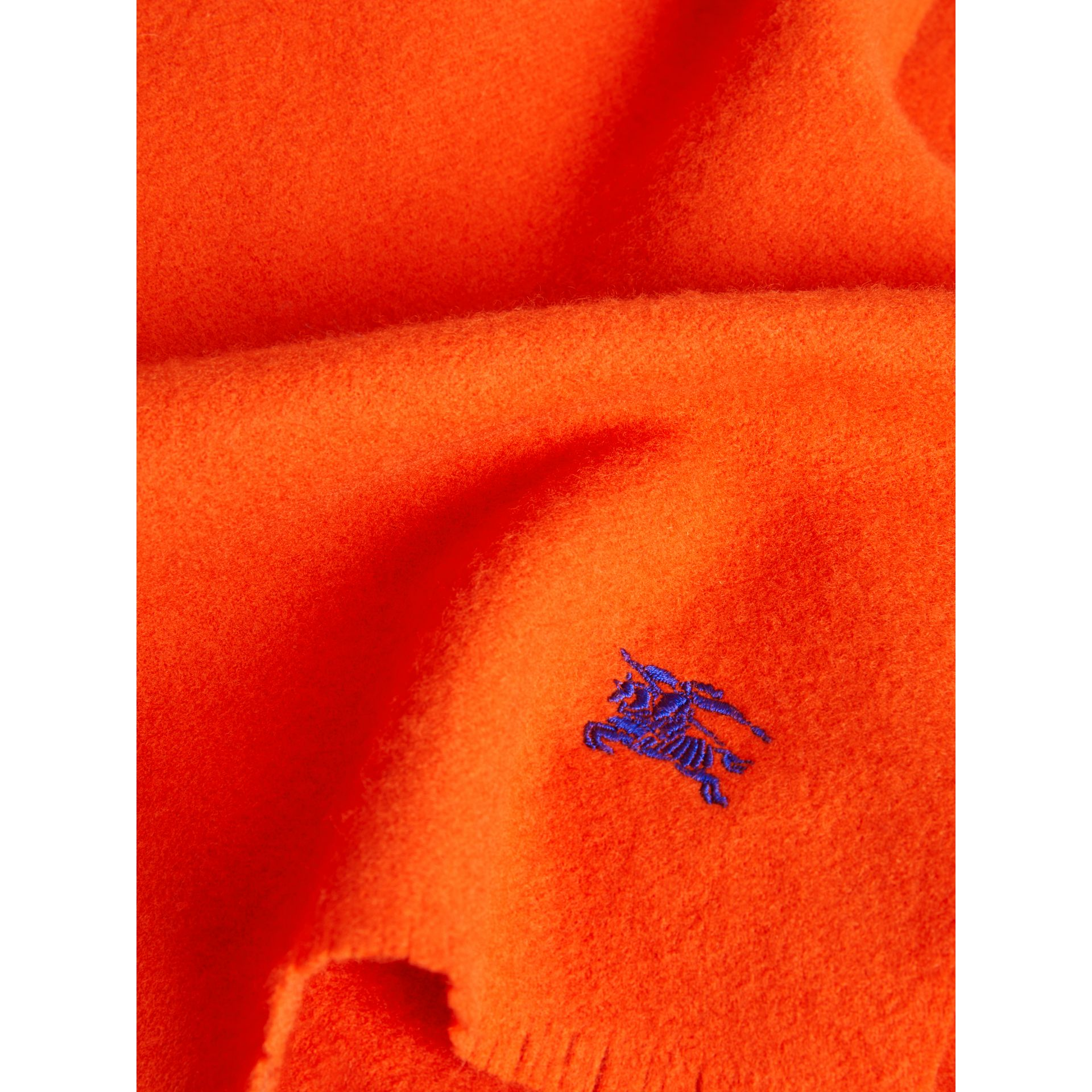 Embroidered Felted Wool Scarf in Clementine | Burberry - gallery image 1