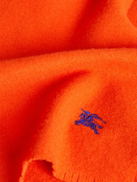 Embroidered Felted Wool Scarf in Clementine | Burberry Canada - cell image 1