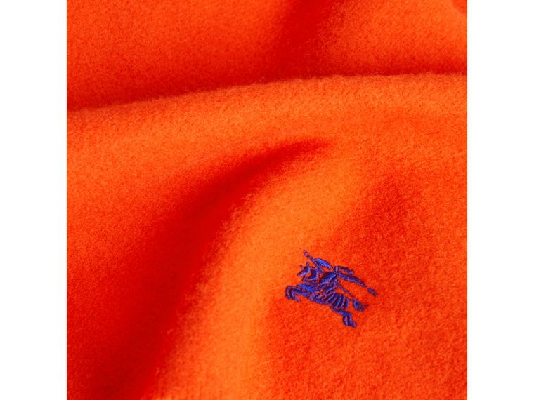 Embroidered Felted Wool Scarf in Clementine | Burberry - cell image 1