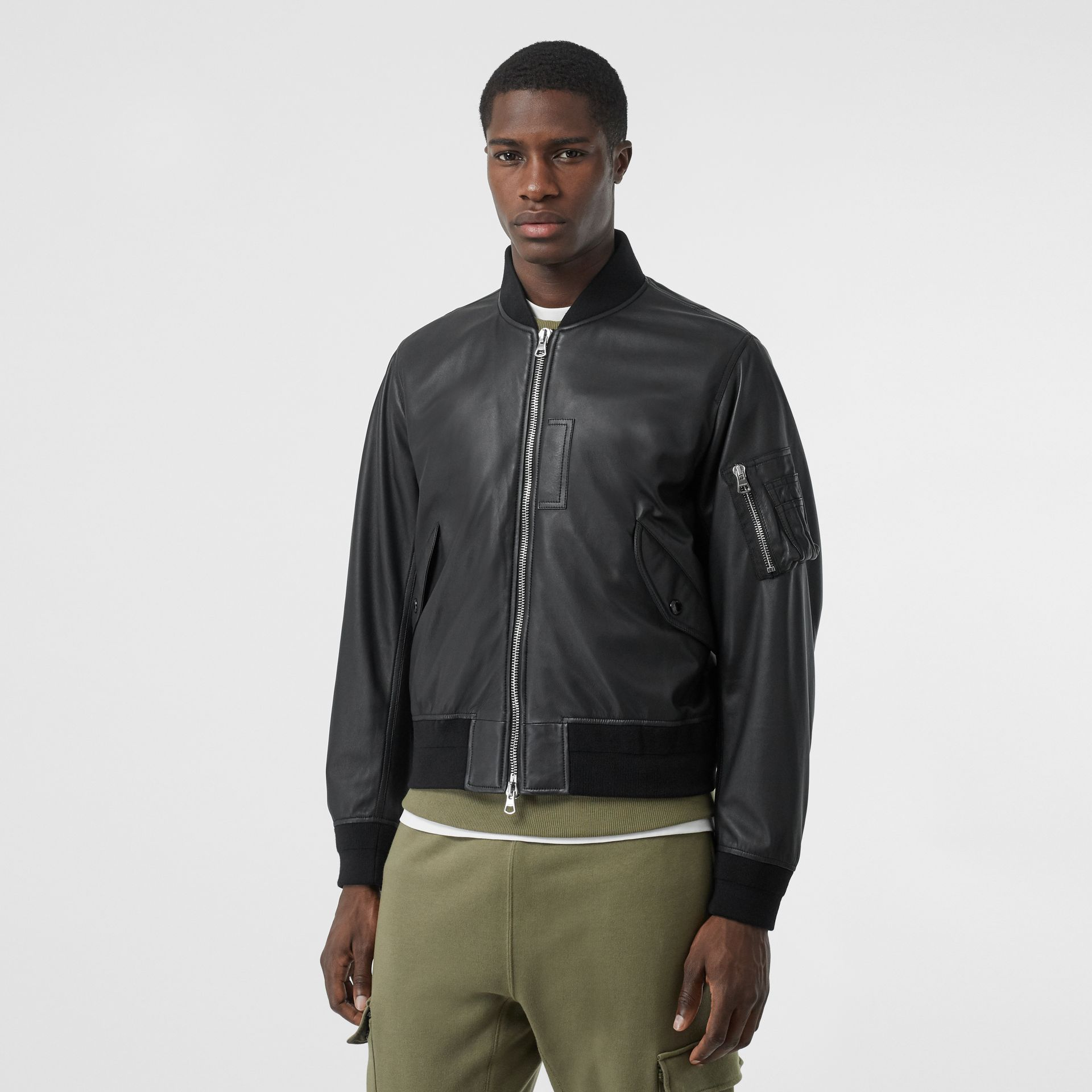Lambskin Bomber Jacket in Black - Men | Burberry - gallery image 4