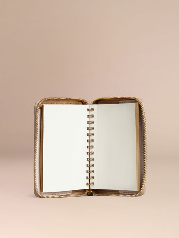 Ziparound Grainy Leather Mini Notebook in Stone | Burberry - cell image 2