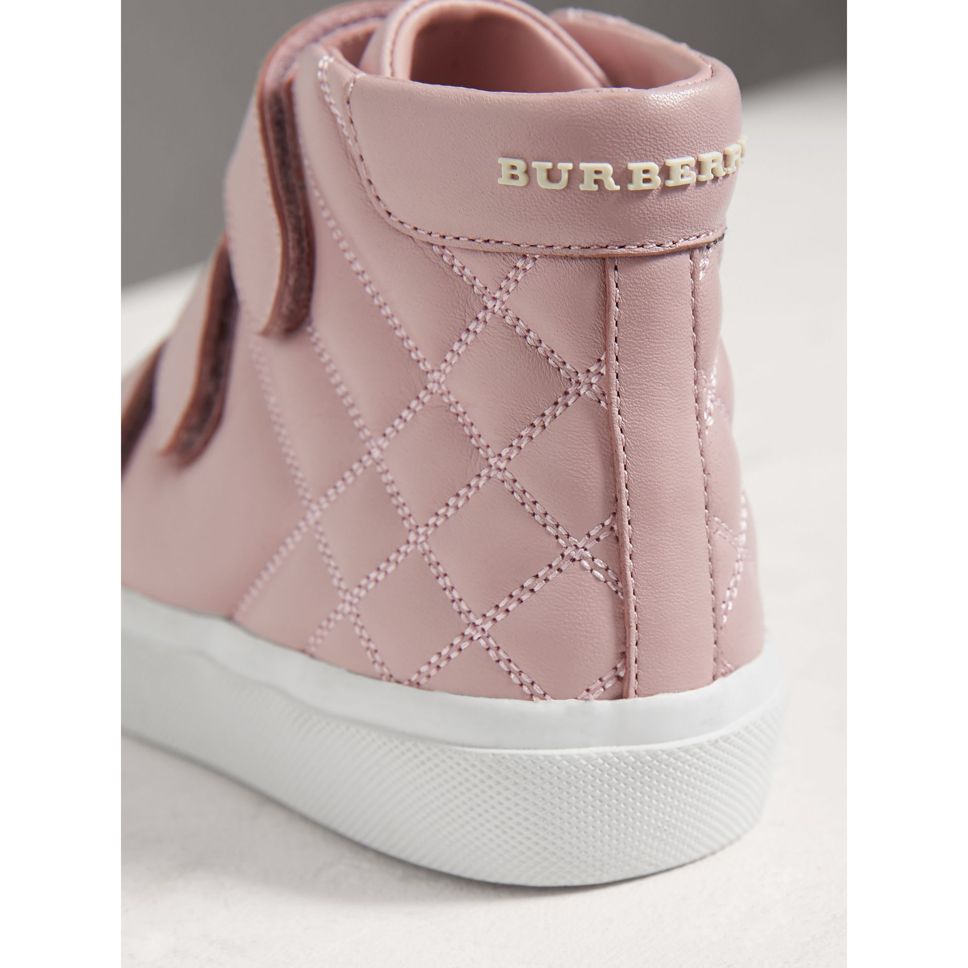 Check-quilted Leather High-top Sneakers in Light Pink Melange - Girl | Burberry - gallery image 2