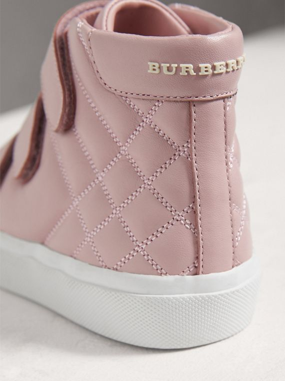 Check-quilted Leather High-top Sneakers in Light Pink Melange - Girl | Burberry - cell image 2