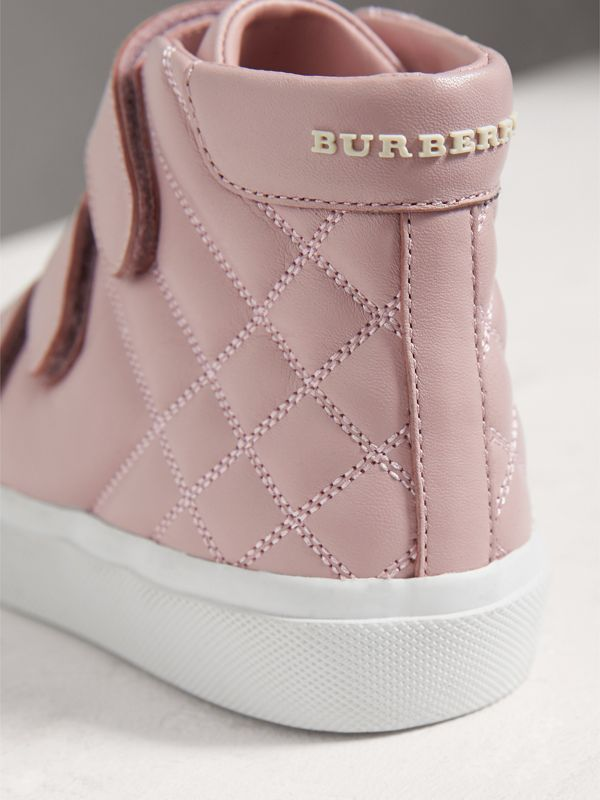 Check-quilted Leather High-top Sneakers in Light Pink Melange | Burberry - cell image 2