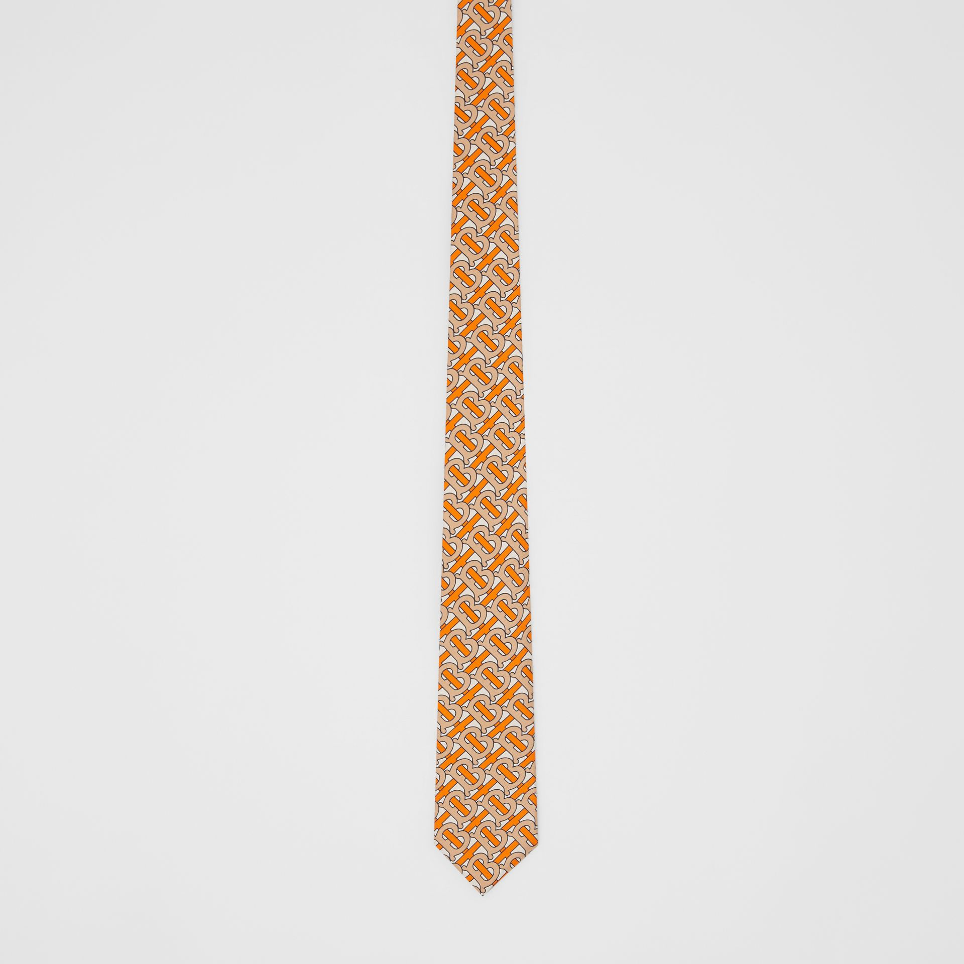 Classic Cut Monogram Print Silk Tie in Bright Orange - Men | Burberry Canada - gallery image 3