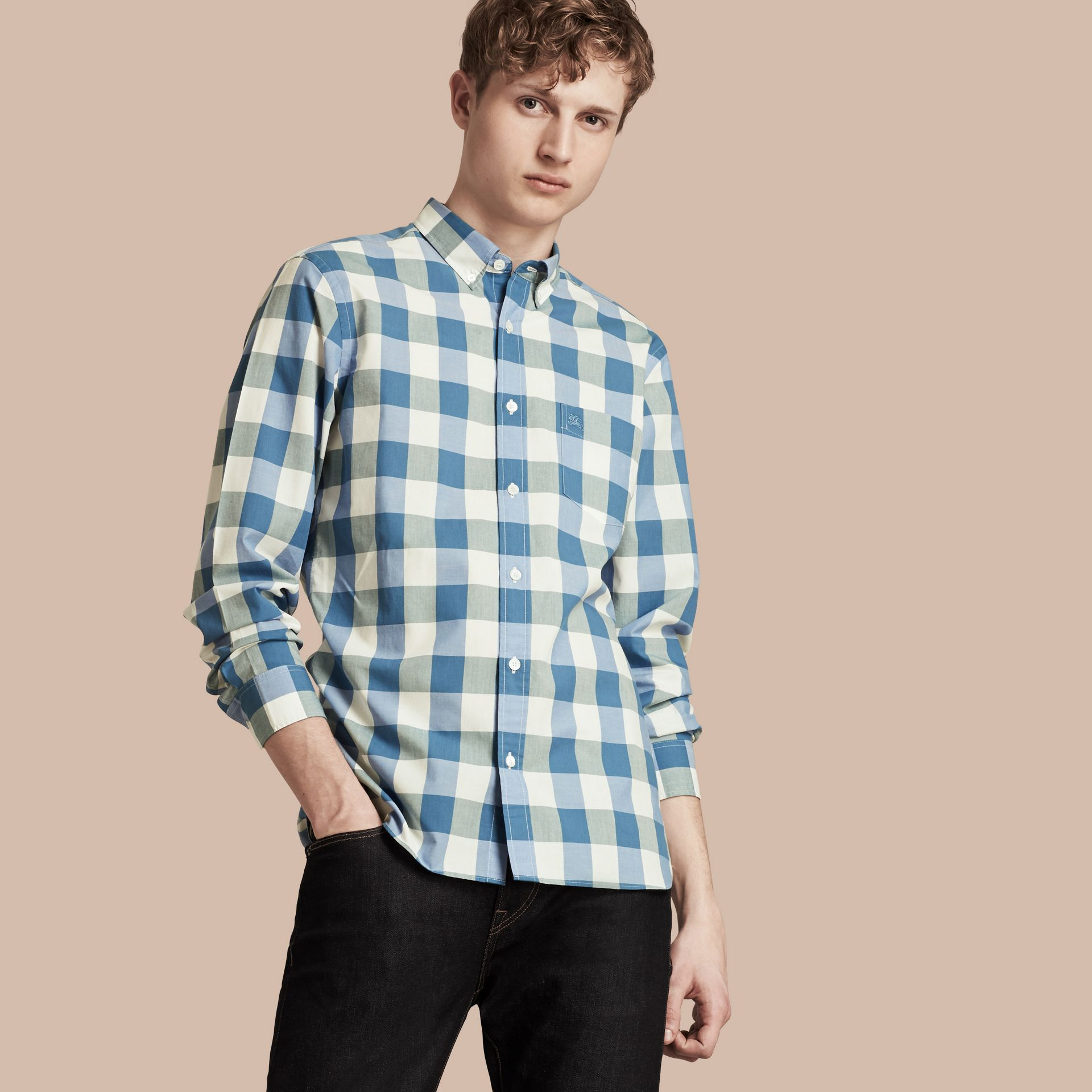 Blu ortensia intenso Camicia vichy in cotone con colletto button-down Blu Ortensia Intenso - immagine della galleria 1