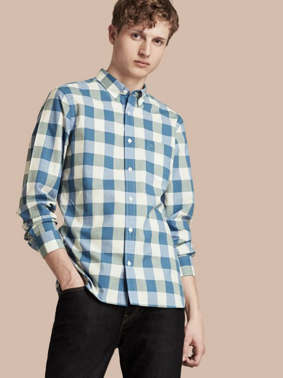 Button-down Collar Gingham Cotton Shirt Bright Hydrangea Blue